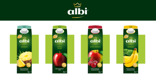 Albi Logo and 4 units of juice